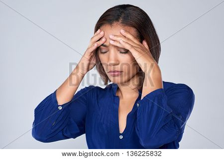 Corporate businesswoman tired stressful suffering from bad headache and fatigue