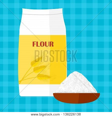 Colorful illustration of package of flour. Baking and cooking Ingredients. Healthy organic food. Flour cartoon vector. Dough cooking. Organic product.