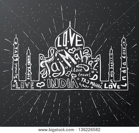 Taj Mahal Temple Landmark Silhouette. Agra, Asia, India. Vector illustration. Taj Mahal with Lettering Inside. Taj Mahal Isolated on Black.