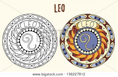 Zodiac signs theme. Black and white and colored mandalas with leo zodiac sign. Zentangle mandala. Hand drawn mandala zodiac for tattoo art, printed media design, stickers, coloring book pages.
