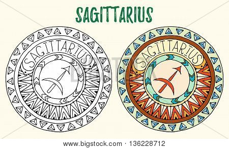 Zodiac signs theme. Black and white and colored mandalas with sagittarius zodiac sign. Zentangle mandala. Hand drawn mandala zodiac for tattoo art, printed media design, stickers, coloring book pag.