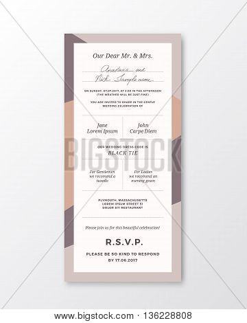 Vector Wedding Invitation Template. Modern Typography and Pastel Colors. Classy Design Card with Soft Realistic Shadow. Isolated.