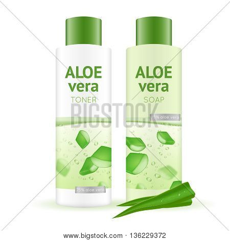 Leaves and bottles with aloe vera water toner and soap on white background realistic vector illustration
