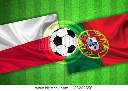 Poland - Portugal - Soccer Field With Ball