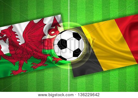 Wales - Belgium - Soccer Field With Ball