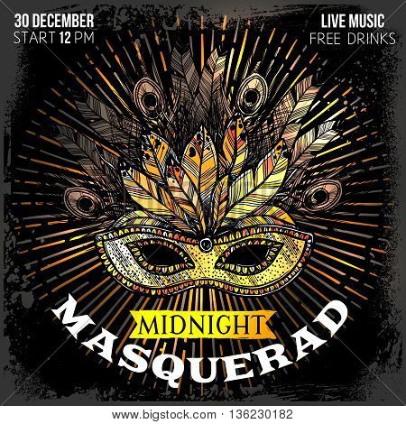 Midnight masquerade party poster with time place and big beautiful mask with feathers and decorations hand drawn vector illustration