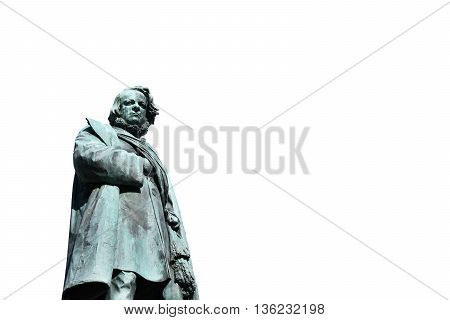 Bronze statue of Daniele Manin italian patriot and President of Venice Republic during 1848 revolt against Austrian Empire made by artist Borro in 1875 (without background)