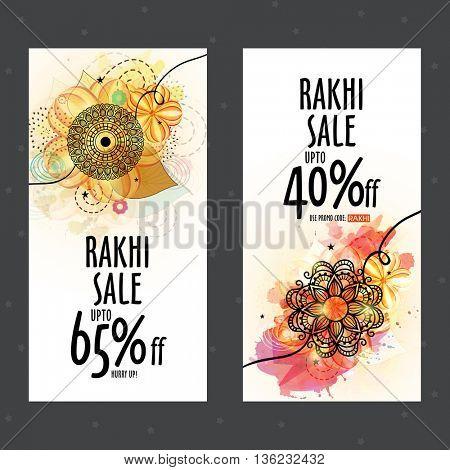 Rakhi Sale with Discount Offer, Sale Website Banner set decorated with creative Rakhi for Indian Festival, Happy Raksha Bandhan celebration.