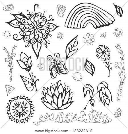summer day elements set with flowers rainbow and butterfly. stock vector. cartoon