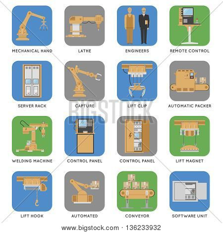 Colored and isolated automated assembly square icon set with descriptions of capture engineers automated conveyor server rack and ext vector illustration