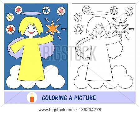 Baby job and leisure time in painting the picture of an angel with the stars in the sky. Sunday school. The children s Ministry.