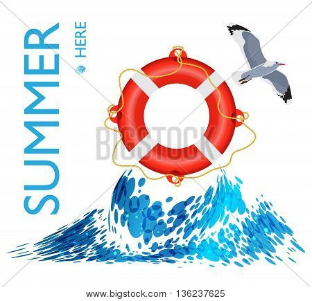 Lifebuoy on the wave, poster background, vector illustration
