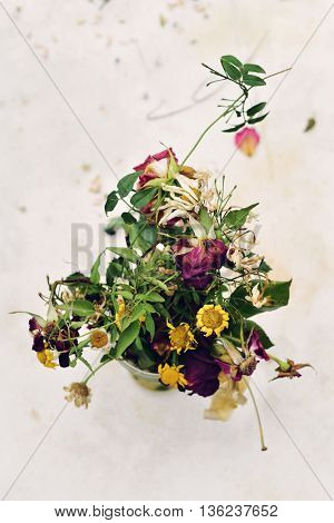 closeup of a bouquet of wilted flowers in a vase on an off-white background