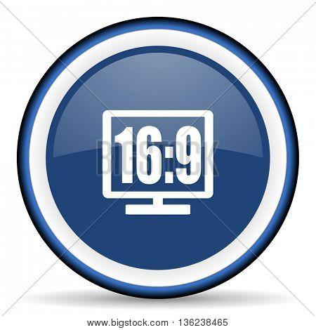 16 9 display round glossy icon, modern design web element