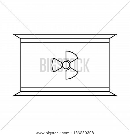 Container with radioactive waste icon in outline style isolated on white background