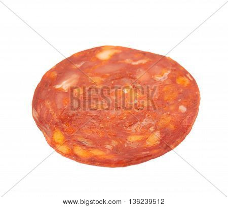 Single slice of Italian sausage salame ventricina isolated over the white background