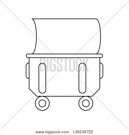 Household or industrial wheelie bin icon in outline style isolated on white background