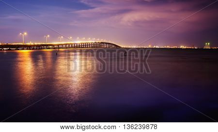 The Queen Isabella Causeway (bridge) leads to South Padre Island Texas at sunset