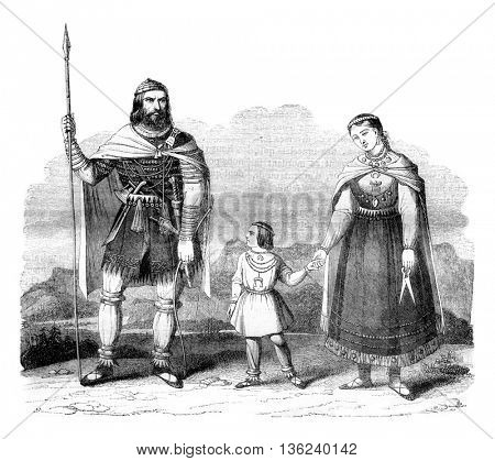 Costumes of Russian Vareghes the ninth and tenth centuries, vintage engraved illustration. Magasin Pittoresque 1843.