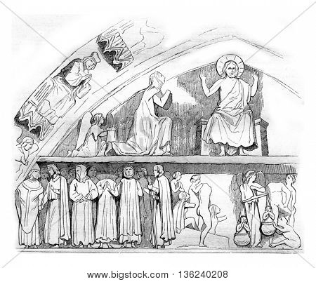 The last Judgment, Lintel of the portal of the church of Culture in Le Mans, vintage engraved illustration. Magasin Pittoresque 1842.
