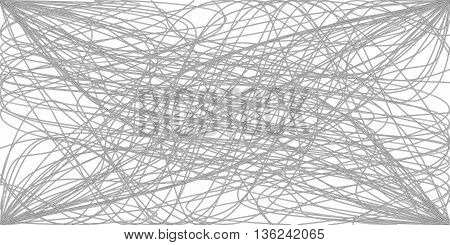 abstract white threads tangled wires. nodes vector illustration poster