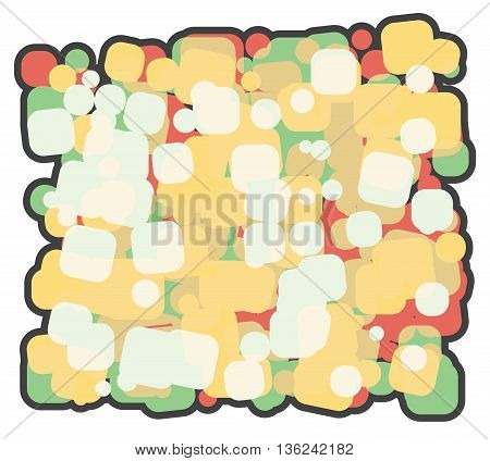 abstract vector illustration background cartoon. a lot of colored squares superimposed on each other