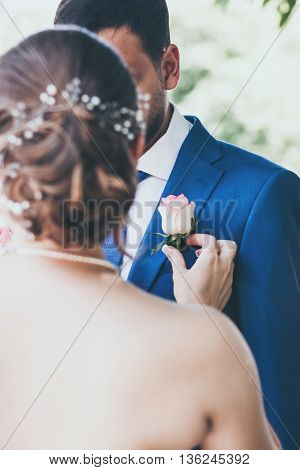 beautiful young couple in love getting married