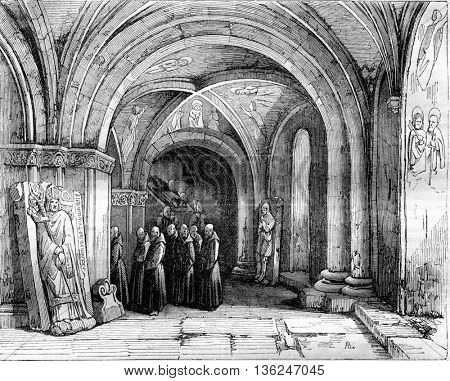 1843 Exhibition of Painting, Monks carrying a coffin in the crypt of the cathedral of Bale, vintage engraved illustration. Magasin Pittoresque 1843.