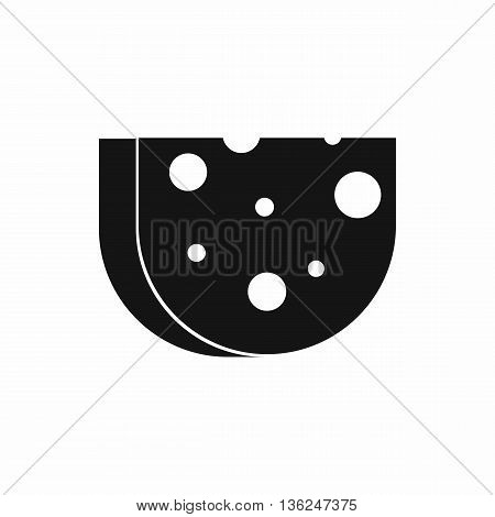 Piece of Swiss cheese icon in simple style isolated on white background