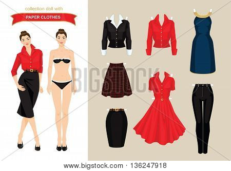 Paper doll with clothes. Body template. Set of paper clothes. Clothes for office, clothes for holiday. Girl with bob hairstyle in elegant navy blue dress with golden ribbon. Skirt with tartan pattern