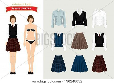 Paper doll with clothes. Body template. Set of paper clothes. Young school or student girl in uniform. Various color of formal clothes for school or college. Skirt with tartan pattern