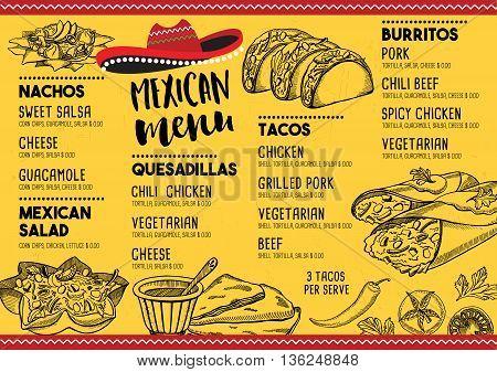 Mexican menu placemat food restaurant menu template design. Vintage creative dinner brochure with hand-drawn graphic. Vector food menu flyer.