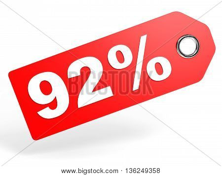 92 Percent Red Discount Tag On White Background.