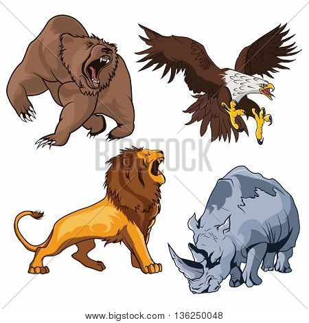 Safari terrifying feline lion with tail and roaring grizzly horribilis bear raising claw, zoo ferocious and dangerous rhino and belligerent eagle, hawk or falcon flying on the prey in cartoon style. Can be used as tattoo or mascot