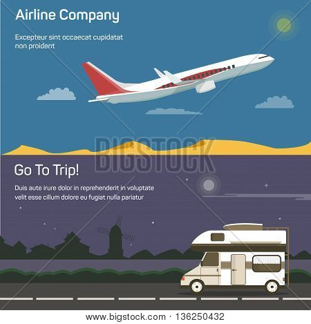 Airplane or jet aircraft, plane or airbus, passenger aeroplane in sky above desert and traveling or tourism car on road or route with houses and mill on background