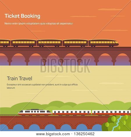 Panorama or side view of train or locomotive with wagons on bridge above river or lake at sunset and forest landscape. Concept of intercity traveling or ticket booking, tourism or journey