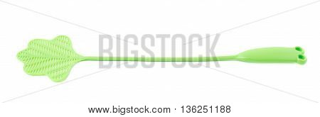 Green fly-swat swatter tool isolated over the white background