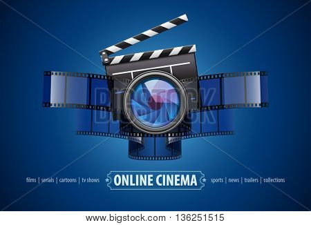 Online movie theater cinema art concept creative icon design with clapper film tape and glass lens vector illustration