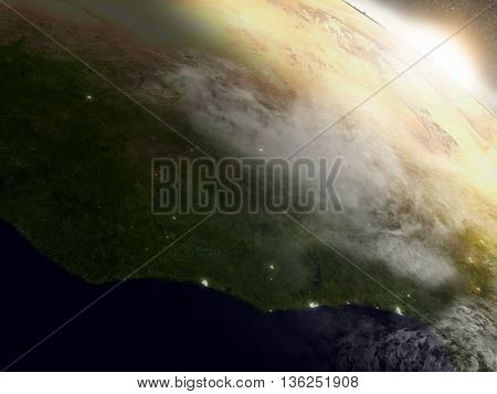 Sunrise Over Ivory Coast, Ghana And Burkina Faso