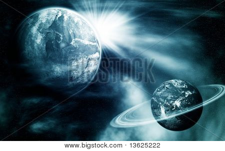 Space View With Two Planets