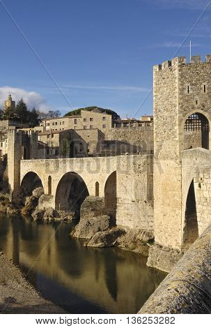 Medieval bridge of the village of Besalu in La Garrotxa, Girona, Spain
