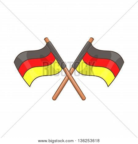 Two crossed flags of Germany icon in cartoon style on a white background