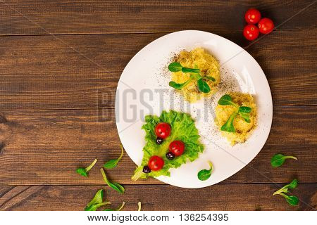 Salad With Tomatoes Decorated In The Form Of Ladybugs With Mashed Potatoes. Top View
