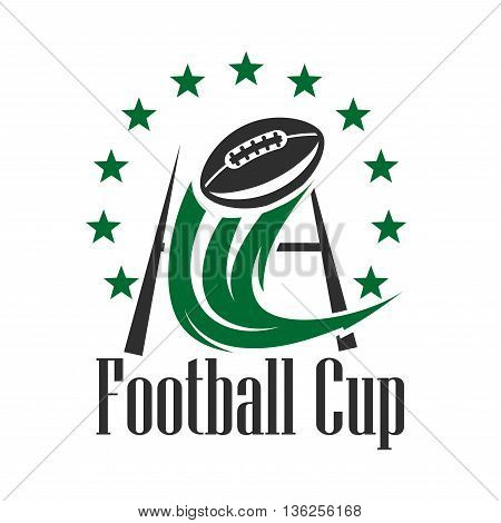 Football championship cup sign in green and black colors with ball flying through the goal post with curved decorative motion trail, framed by stars. American football competition theme design