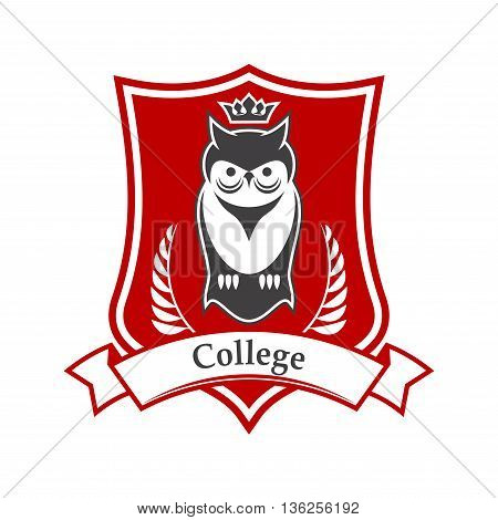 College or academy heraldic sign in red and white colors of figured shield with crowned owl bird, adorned by ribbon banner and laurel branches. Great for education theme design usage