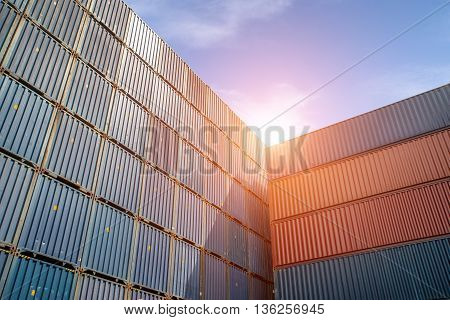 Import Export Logistics concept - Stack of Cargo Containers at the docks. Use for Import Export Logistics background
