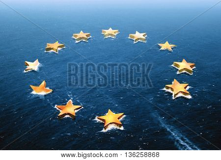 Conceptual image representing a drifting European Union and an empty space left by the Brexit