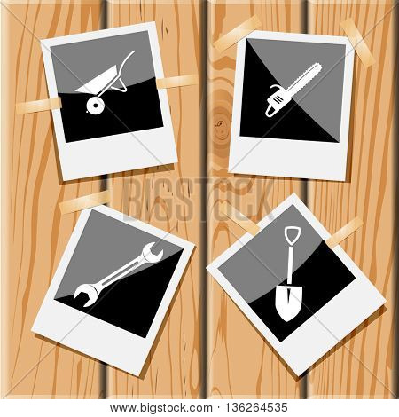 4 images: wheelbarrow, gasoline-powered saw, spanner, spade. Angularly set. Photo frames on wooden desk. Vector icons.