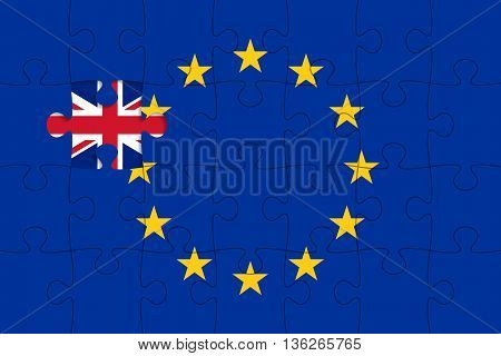 European Union flag in form of assembled jigsaw puzzle, one piece is missing, flag of United Kingdom instead. United Kingdom withdrawal from the European Union. Brexit concept