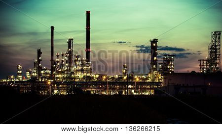 Night view of the refinery petrochemical plant in Gdansk Poland Europe.
